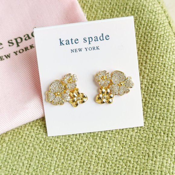 Kate Spade Precious Pansy Pave Gold Earrings